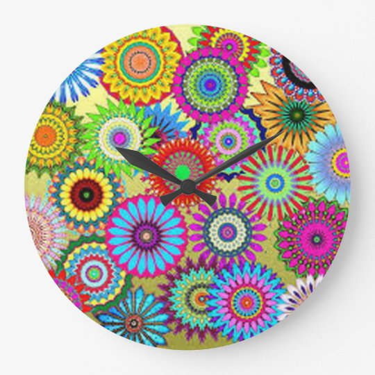 Colourful Circle Flowers Large Clock