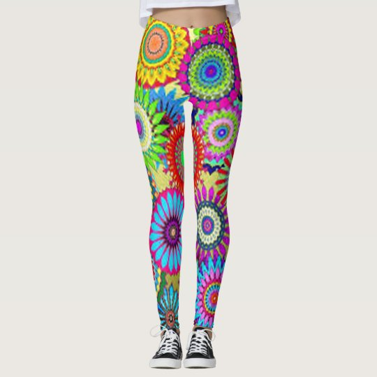 Colourful Circle Flowers Leggings