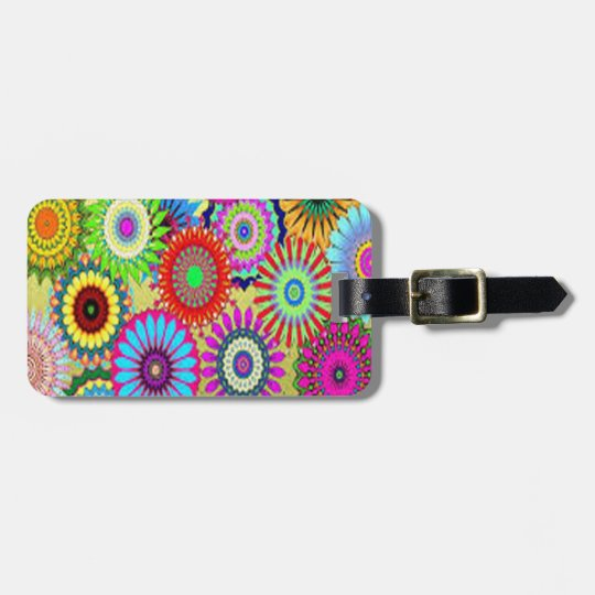 Colourful Circle Flowers Luggage Tag