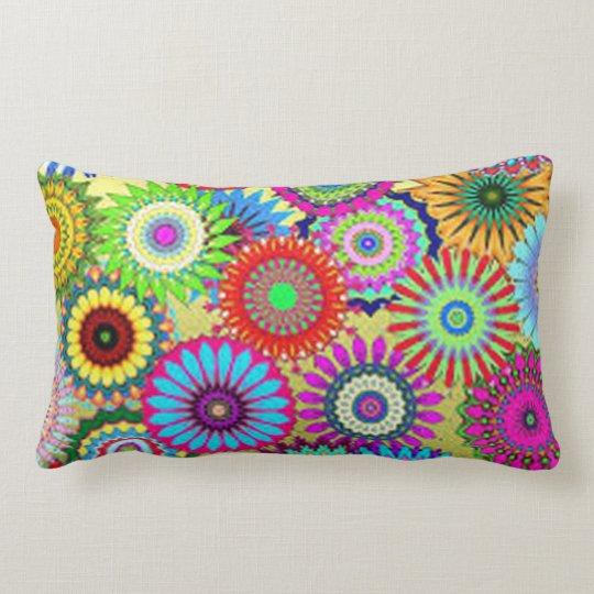 Colourful Circle Flowers Lumbar Pillow