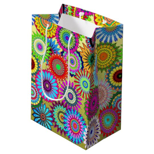 Colourful Circle Flowers Medium Gift Bag