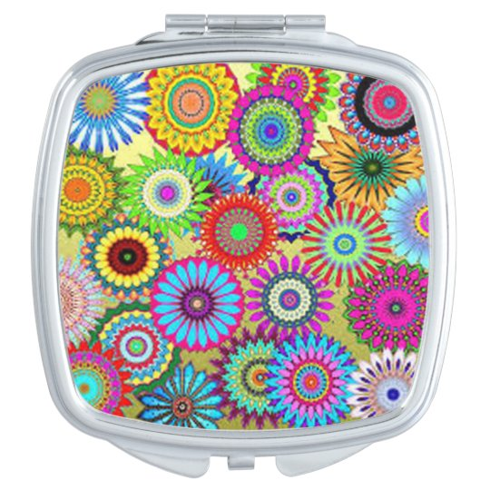 Colourful Circle Flowers Mirrors For Makeup