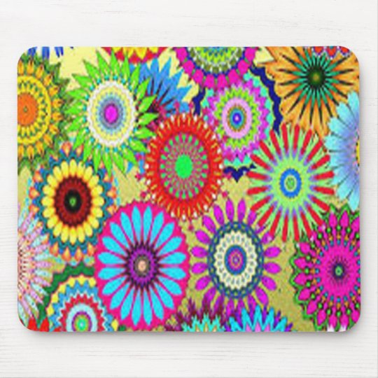 Colourful Circle Flowers Mouse Pad