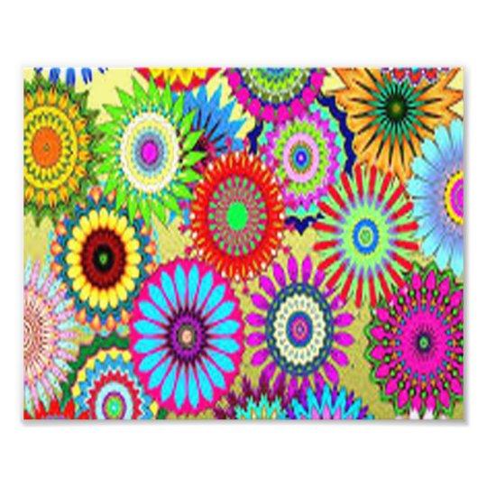 Colourful Circle Flowers Photo Print