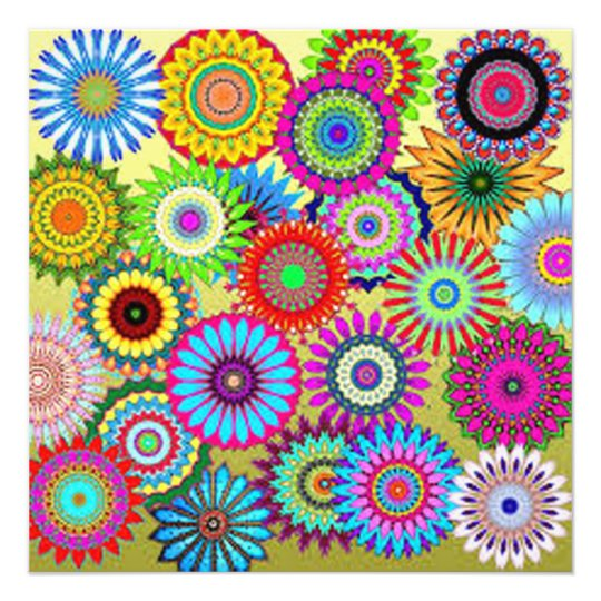Colourful Circle Flowers Photo Print
