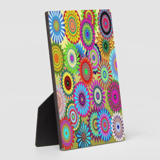 Colourful Circle Flowers Plaque