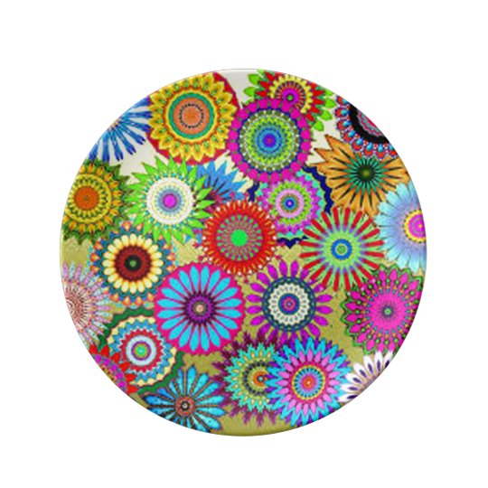 Colourful Circle Flowers Plate