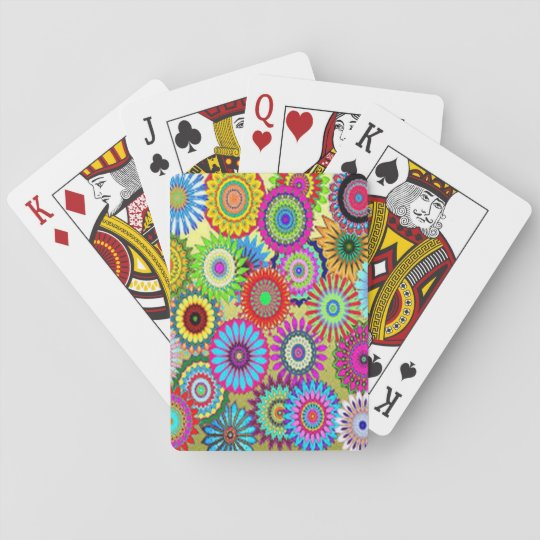 Colourful Circle Flowers Playing Cards