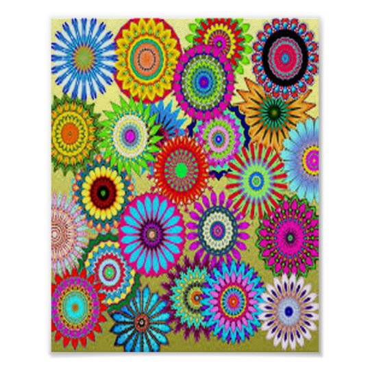 Colourful Circle Flowers Poster