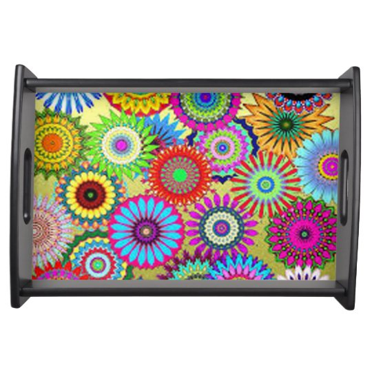 Colourful Circle Flowers Serving Tray