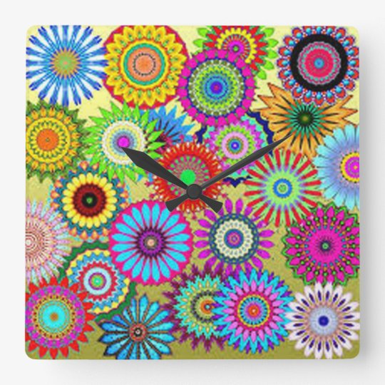 Colourful Circle Flowers Square Wall Clock