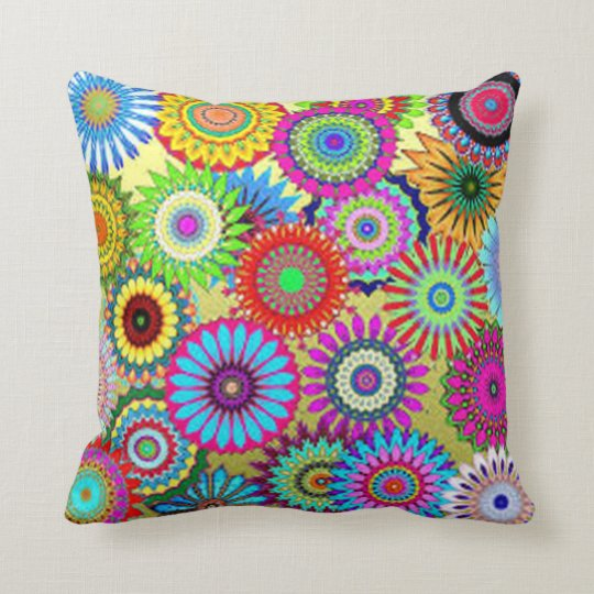 Colourful Circle Flowers Throw Pillow