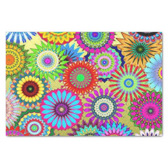 Colourful Circle Flowers Tissue Paper