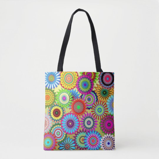 Colourful Circle Flowers Tote Bag