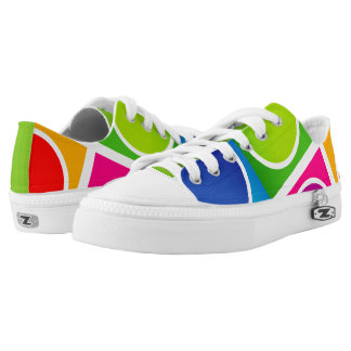 Colourful Circles and Squares Pattern1 Low-Top Sneakers