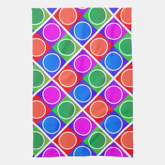 Colourful Circles and Squares Pattern Kitchen Towel