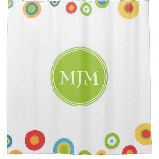 Colourful Circles Monogram Shower Curtain