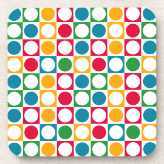 Colourful Circles & Squares Pattern Drink Coaster