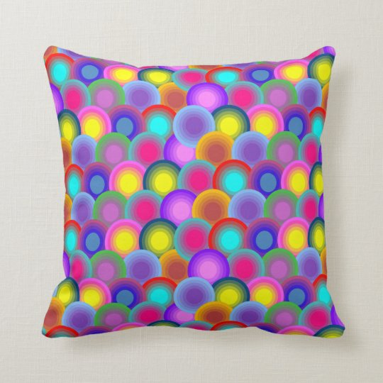 Colourful Circles Throw Pillow
