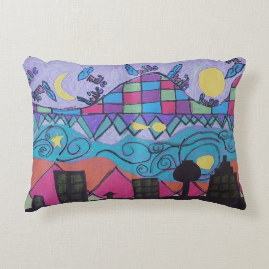 Colourful Cityscape Accent Pillow