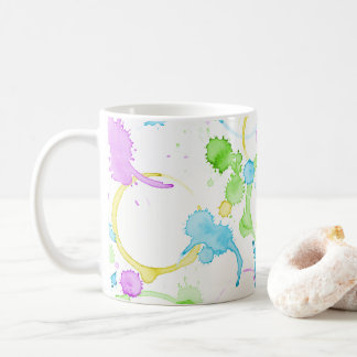 Colourful coffee stained coffee mug
