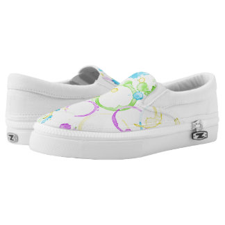 Colourful coffee stained slip on shoes