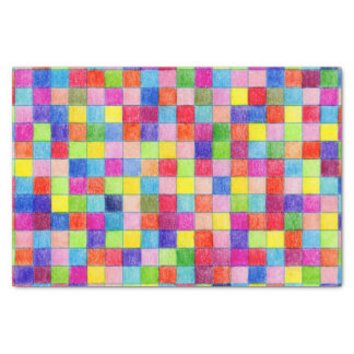 Colourful Coloured Graph Paper Squares Tissue