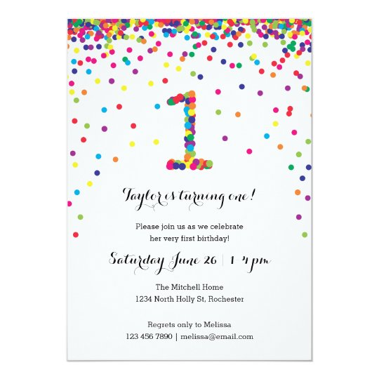 Colourful Confetti 1st Birthday Party Invitations