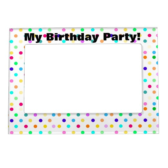 Colourful confetti polka dot magnetic frame