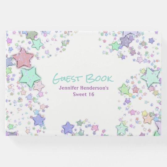 Colourful Confetti Stars Guest Book