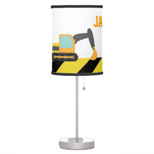 Colourful Construction Vehicles For Boys Room Table Lamp