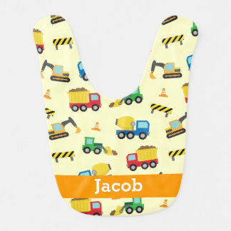 Colourful Construction Vehicles Pattern, Baby Boys Bib