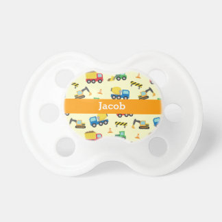 Colourful Construction Vehicles Pattern, Baby Boys Baby Pacifier