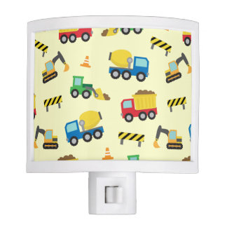Colourful Construction Vehicles Pattern Boys Room Night Lite