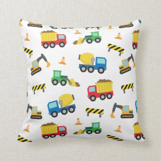 Colourful Construction Vehicles Pattern Boys Room Pillow