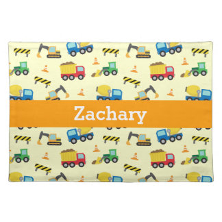 Colourful Construction Vehicles Pattern for Boys Placemats