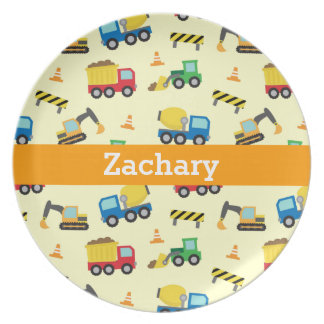 Colourful Construction Vehicles Pattern for Boys Plates