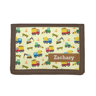 Colourful Construction Vehicles Pattern for Boys Tri-fold Wallet