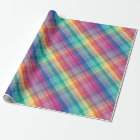 Colourful Contemporary Rainbow Plaid Squares Wrapping Paper