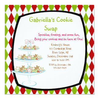 Colourful Cookie Tray Holiday Cookie Swap Invites