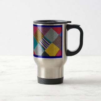 Colourful cosy knitted wool pattern travel mug