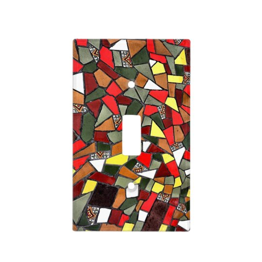 Colourful Cracked Tile Design Light Switch Cover