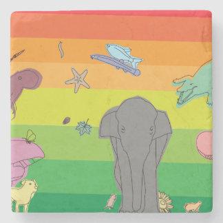 Colourful Creatures Stone Coaster
