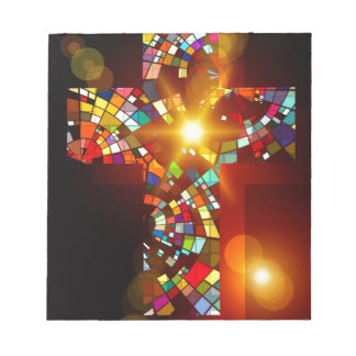 Colourful cross ministry abstract colors notepad