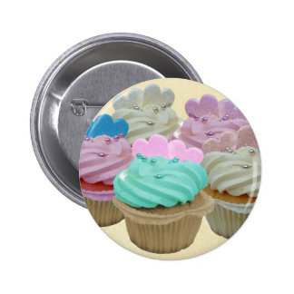 Colourful cupcakes and hearts button