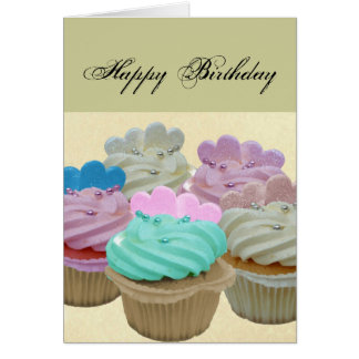 Colourful cupcakes and hearts card
