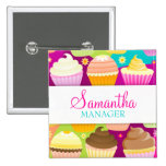 Colourful Cupcakes Name Badge Pinback Buttons