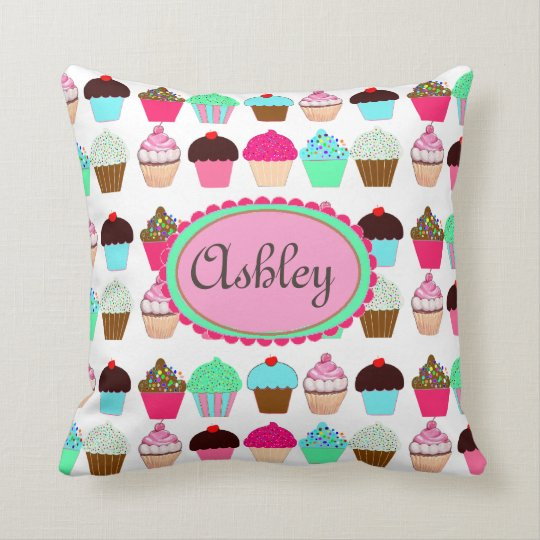 Colourful Cupcakes - Personalized Throw Pillow