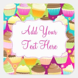 Colourful Cupcakes Square Sticker