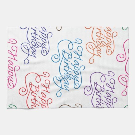 Colourful Cursive Happy Birthday Pattern Kitchen Towel